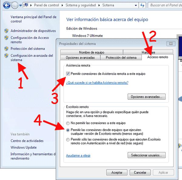 Activar acceso remoto mediante asistencia remota en Windows Seven