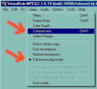 Ejemplo de cómo elegir compresor en VirtualDub